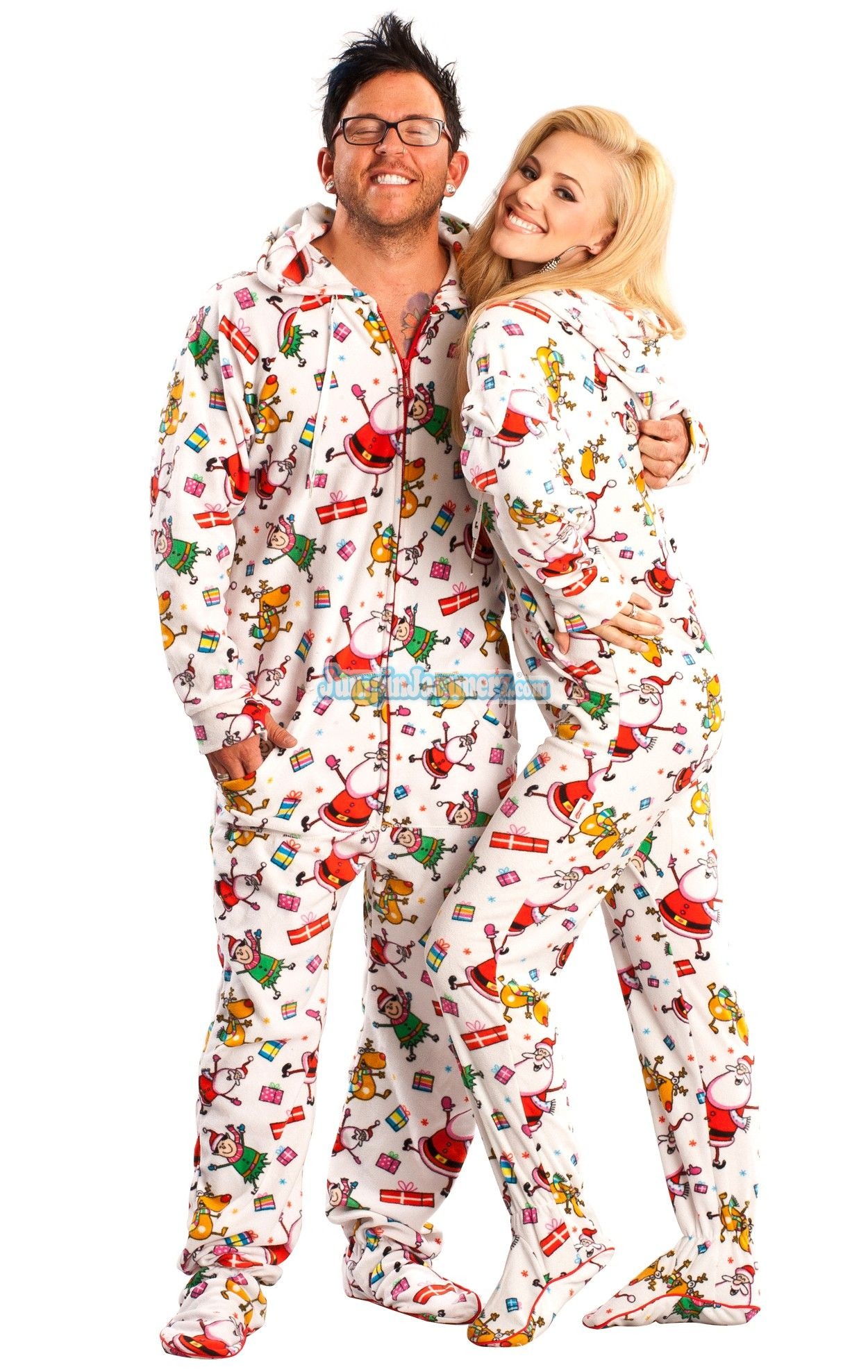 Santa Baby Hooded Footed Pajamas features: hoodie, thumb holes ...