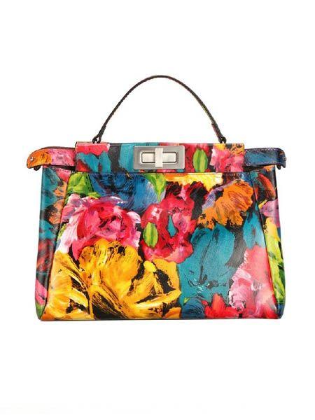 Painting Flowers Leather Handbag Choies