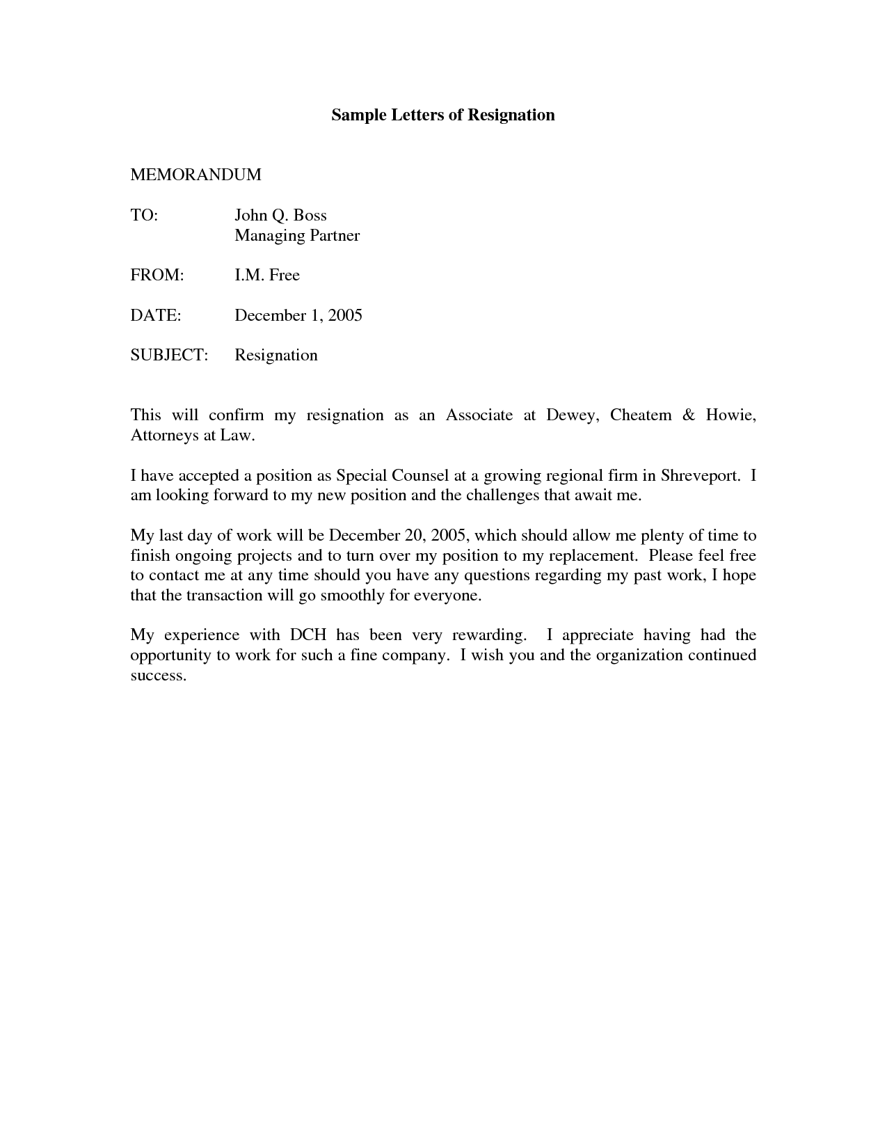 printable sample letter of resignation form