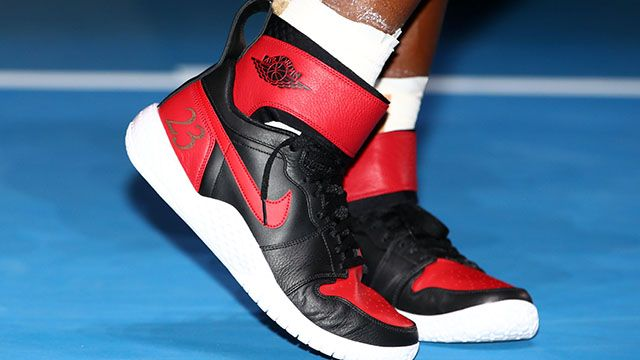 """Serena was outfitted for the historic occasion from head to toe – courtesy of Nike's custom """"No.23"""" Air Jordans."""