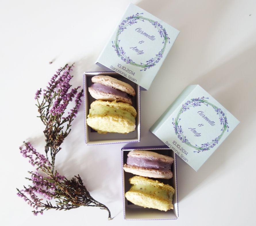 Diy lavender and pistachio macarons wedding favor boxes
