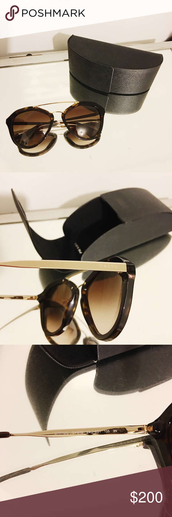 Prada Sunglasses SPR12Q Tortoise Brown Worn twice! No scratches on lens or hardware. Comes with the case and cleaning cloth Prada Accessories Sunglasses