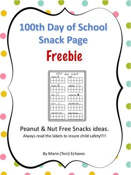 100th Day Snack Freebie With Images 100th Day Kindergarten