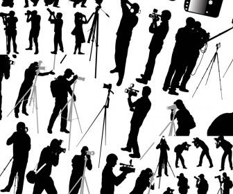 Photographers and cameraman silhouette vector