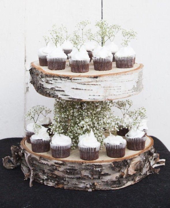 Diy Floating Birch Cake Stand Rustic Cupcake Stands Rustic Cake