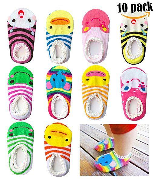 New In Bag 10 Pairs Anti-slip Socks 6-18 Months Kids Baby Socks Non Slip Girl