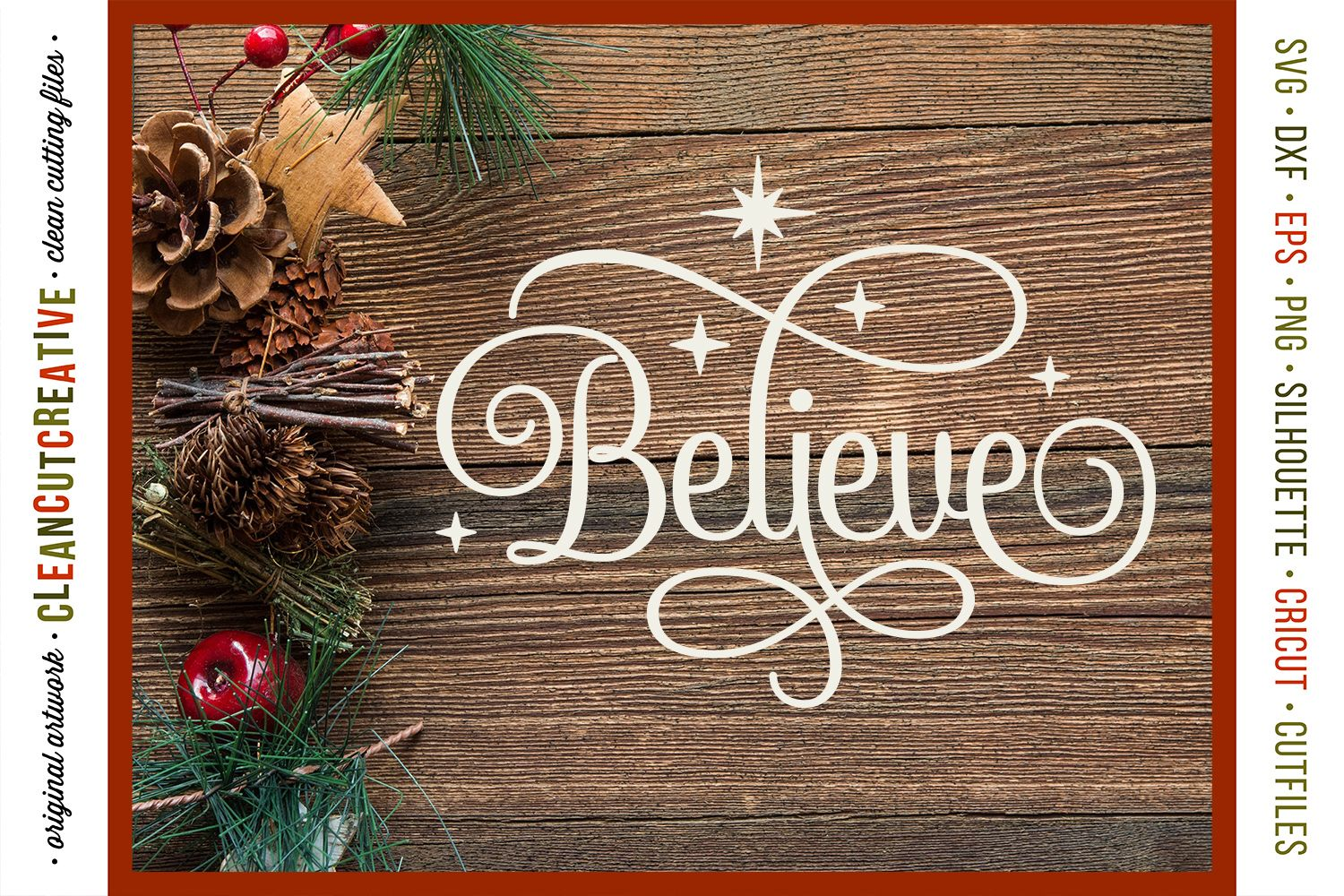 BELIEVE in the Magic Christmas design in SVG DXF EPS PNG