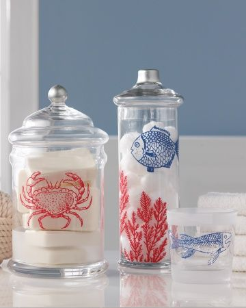 Under The Sea Bathroom Decor Nautical DIY Martha Stewart Crafts Glass Paint  #DIY #crafts
