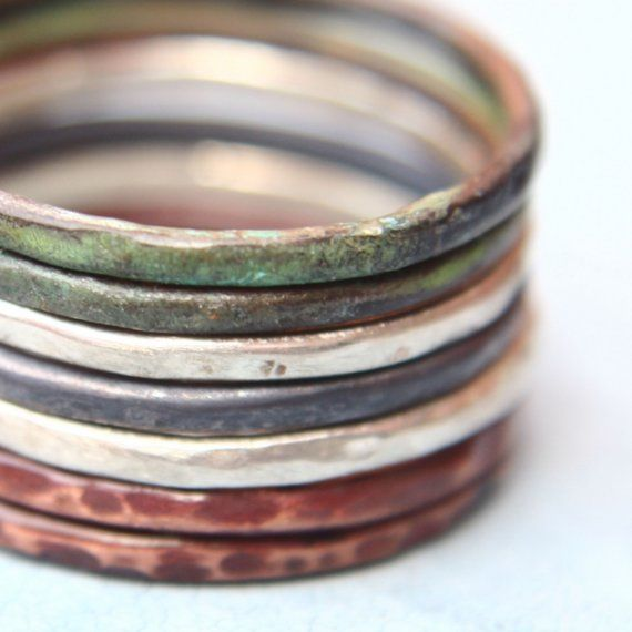 Mix of Colors  Set of Seven Stacking Rings by indiaylaluna on Etsy