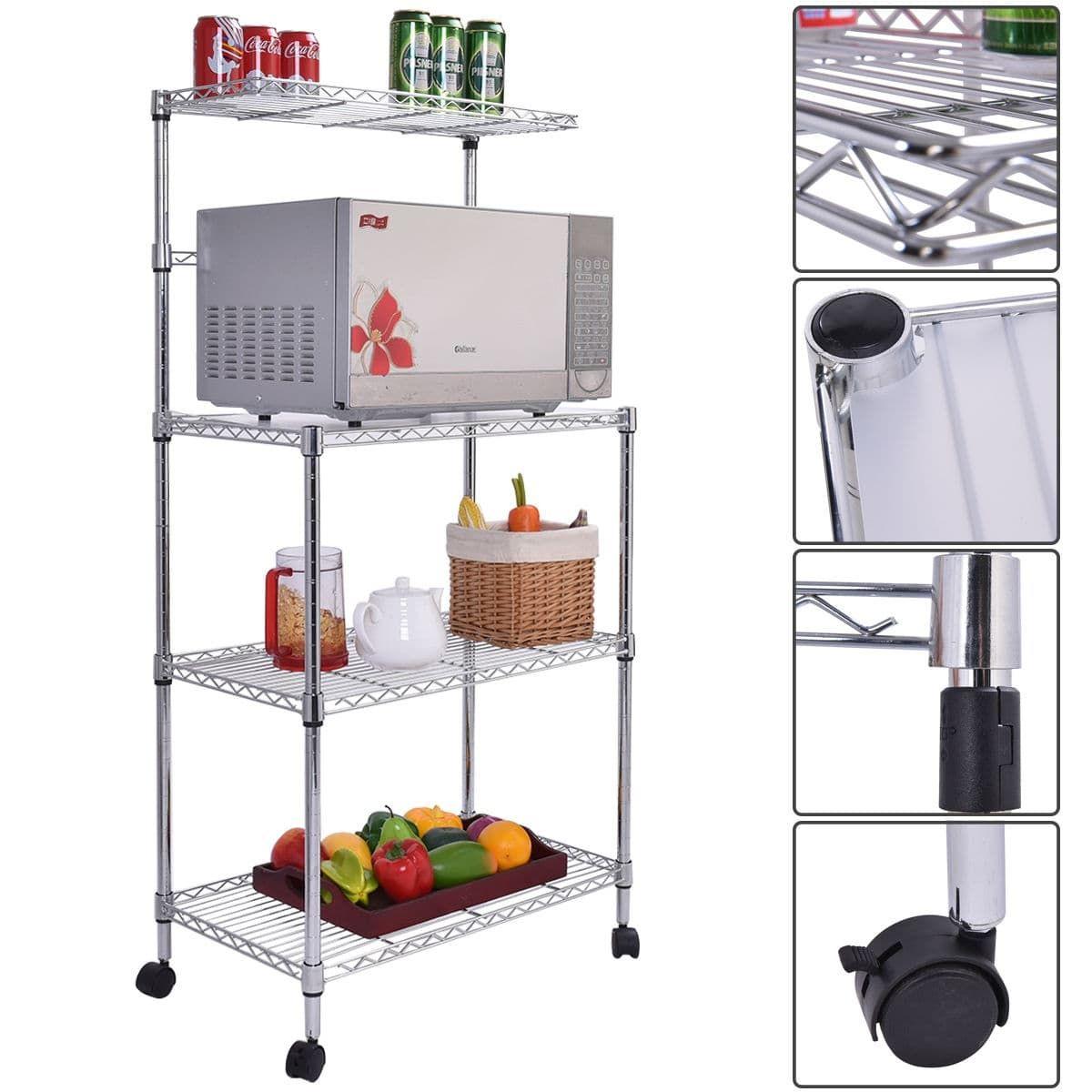 Costway 3 Tier Kitchen Baker S Rack Microwave Oven Stand Storage Cart Workstation Shelf Grey