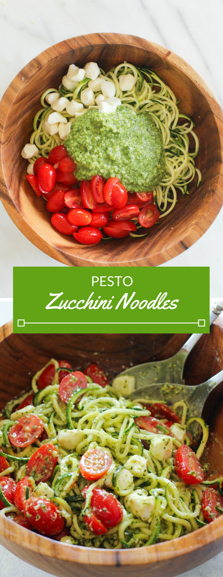 These Pesto Zucchini Noodles are a light and summery dish that doesn't require a stove top or ove
