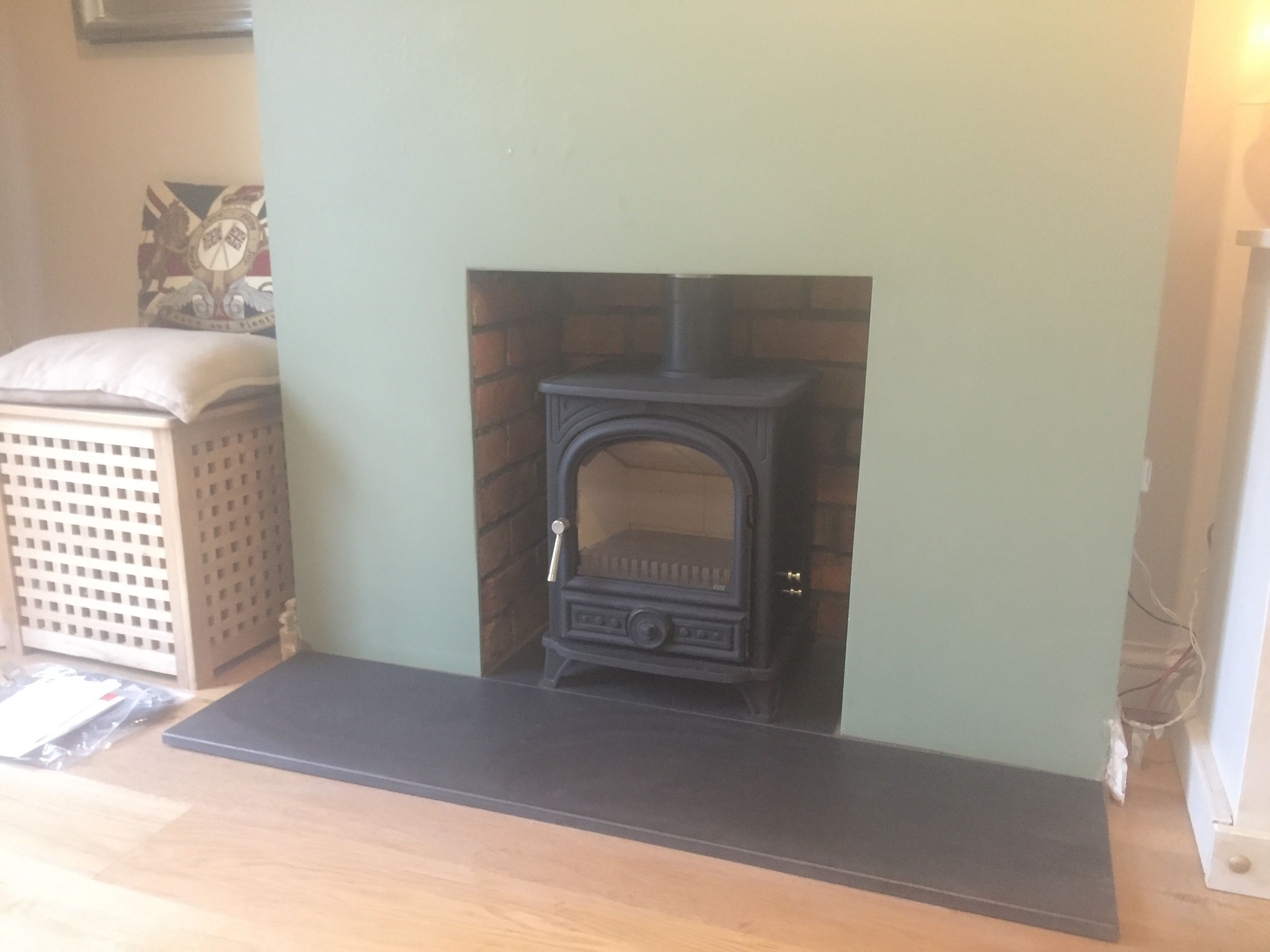 burley debdale wood burning stove rendered fireplace opening honed