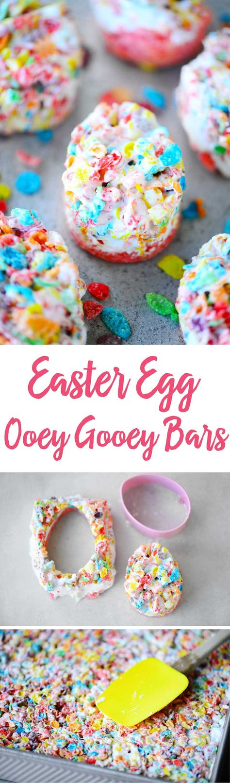 Strawberry Ooey Gooey Bars have a strawberry cake mix crust with marshmallow cream and fruity pebbles treats on top. They are irresistible to kids of all ages! Cut them into Easter egg shapes for a fun Easter dessert.