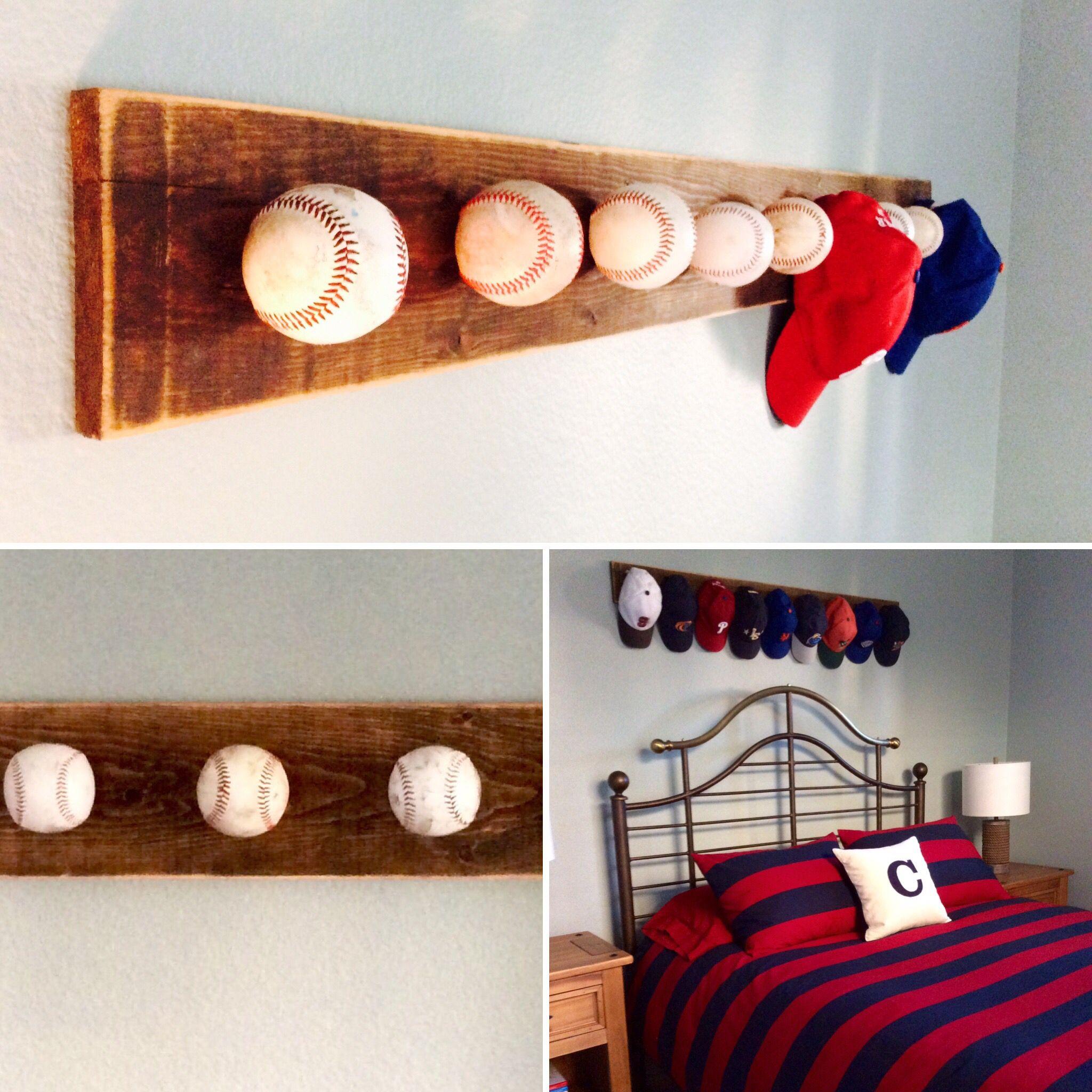 Custom Baseball Hat Rack By The Created Sign Creative Way To Display Baseball Hats Using Old Baseballs And Reclaimed Baseball Bedroom Baseball Room Rack Ideas