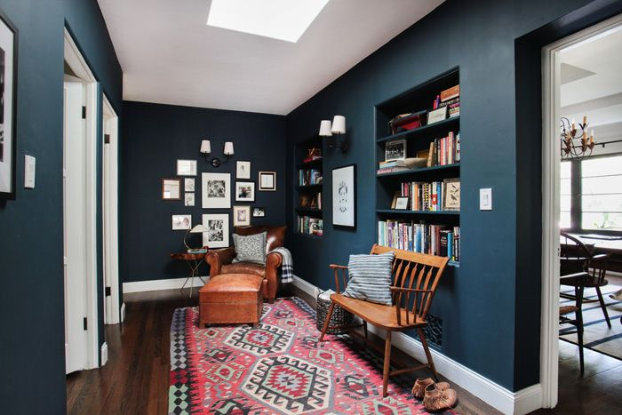 Emily Henderson_Hague Blue Reading Nook_Leather Chair_Gallery Wall_Bookshelves wall color: Farrow & Ball Hague Blue
