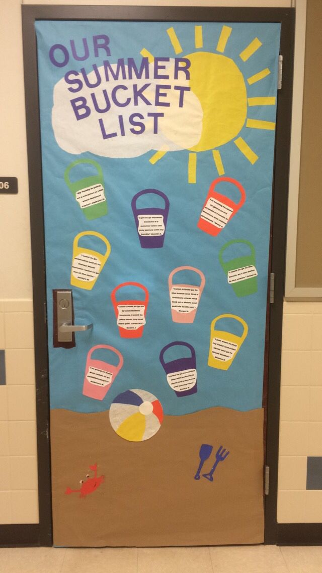 Summer Classroom Decoration ~ Fun classroom door decoration summer bucket list beach
