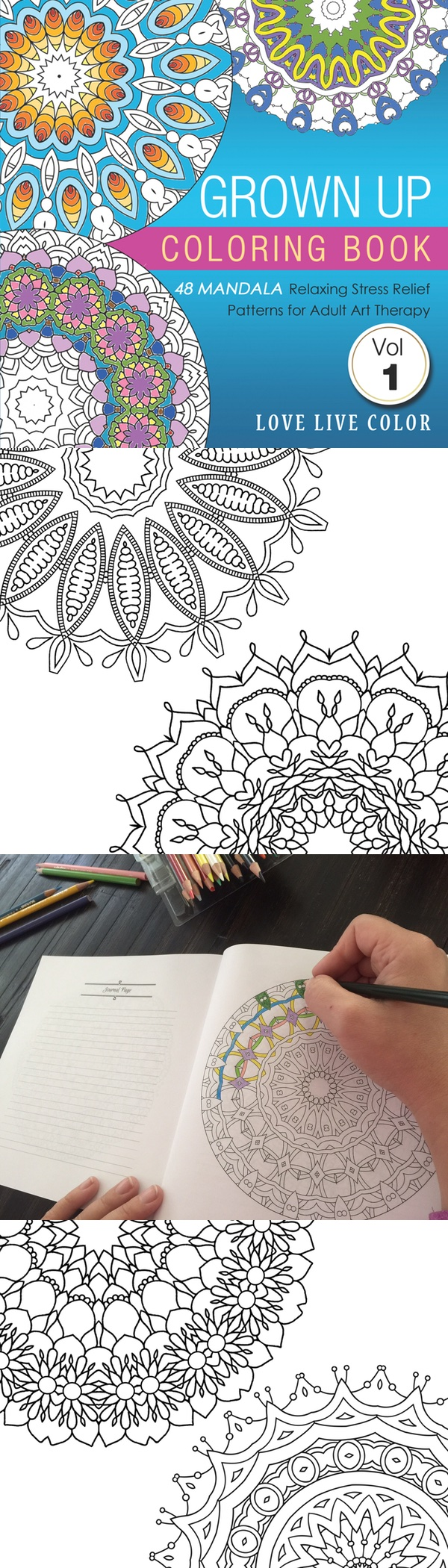 Discover More Calm, Creativity, Fun And Relaxation In Your Life In Just 5 Minutes Per Day With This Coloring Book for Adults from Love Live Color