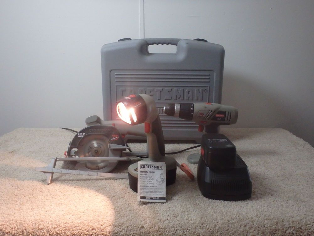 Craftsman 75th Anniversary Drill Saw Light Charger Combination Cordless Set Guc Craftsman Craftsman Cordless Drill Drill
