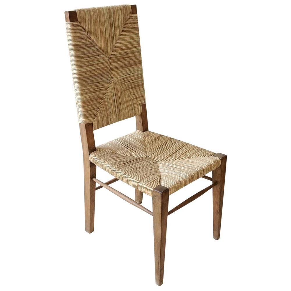 Nantucket Coastal Beach Seagrass Teak Dining Chair | Kathy Kuo Home