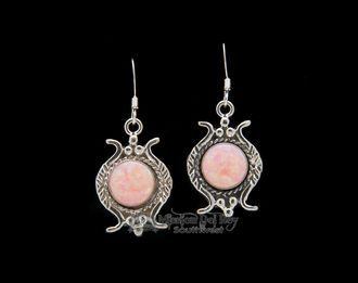 Native American Navajo Silver Earrings -Pink Opal (ne454)