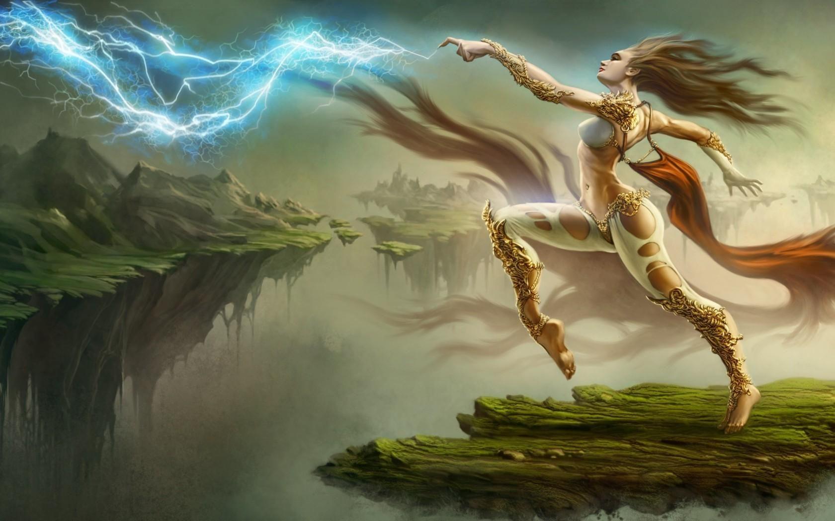 Female sorceress art sorceress lightning girl fantasy - Fantastic girl wallpaper hd ...