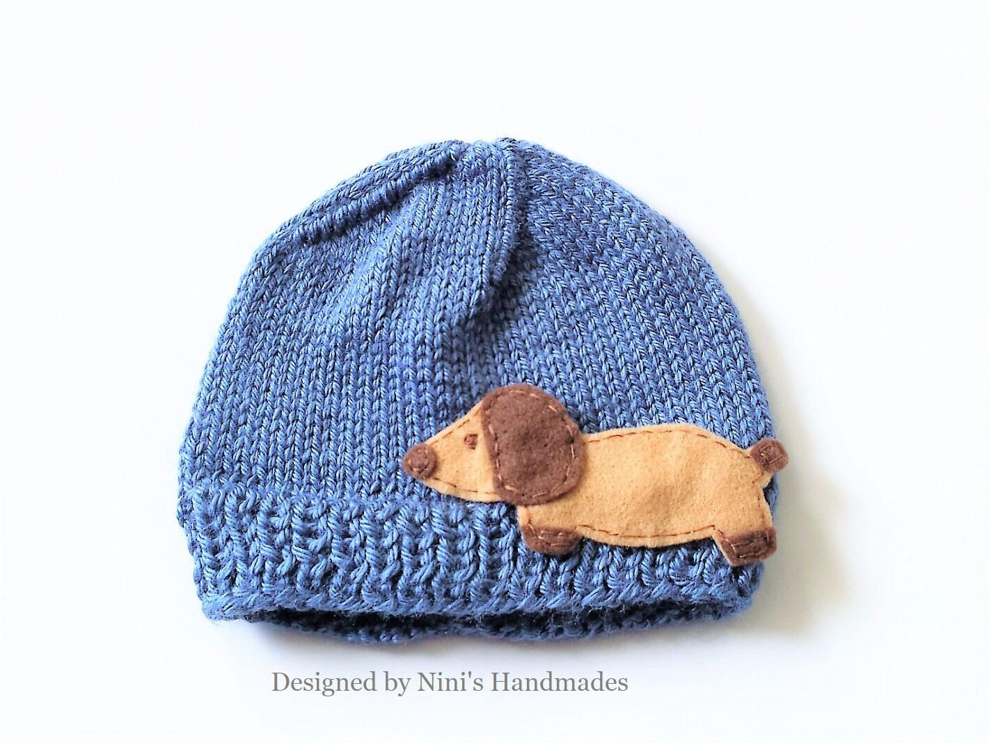 742144817d8 Fun Unisex Kids Knit Denim Wiener Dog Dachshund inspired Beanie Hat ...