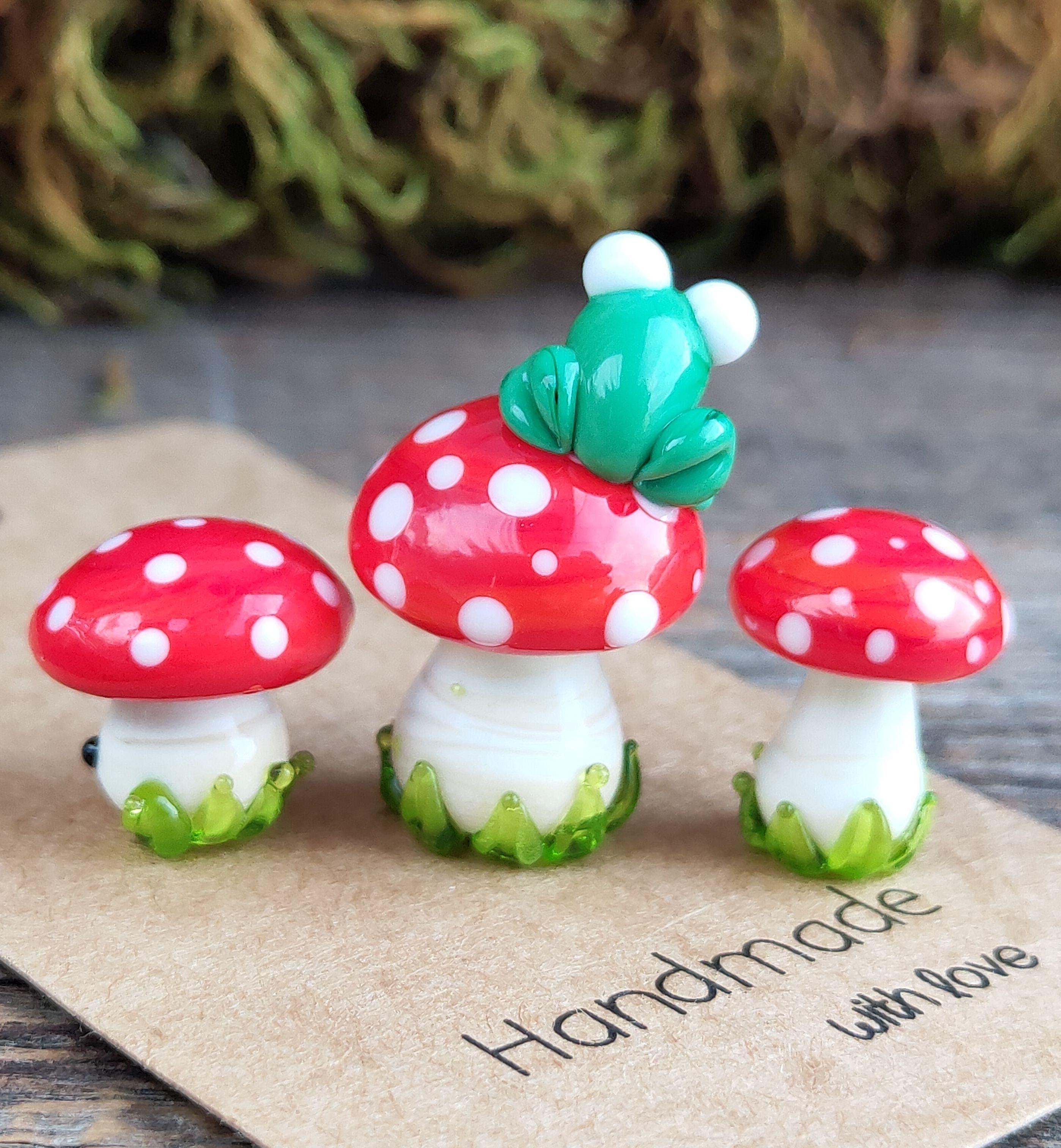Mushroom in glass jar Mushroom Decor  Fairy garden  mini mushroom tiny glass jar story jars and ornaments