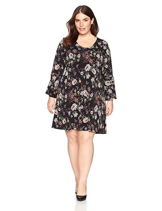 cfd709be5cbb Karen Kane Women s Plus Size Floral V-Neck Bell Sleeve Dress - Blogging ERA