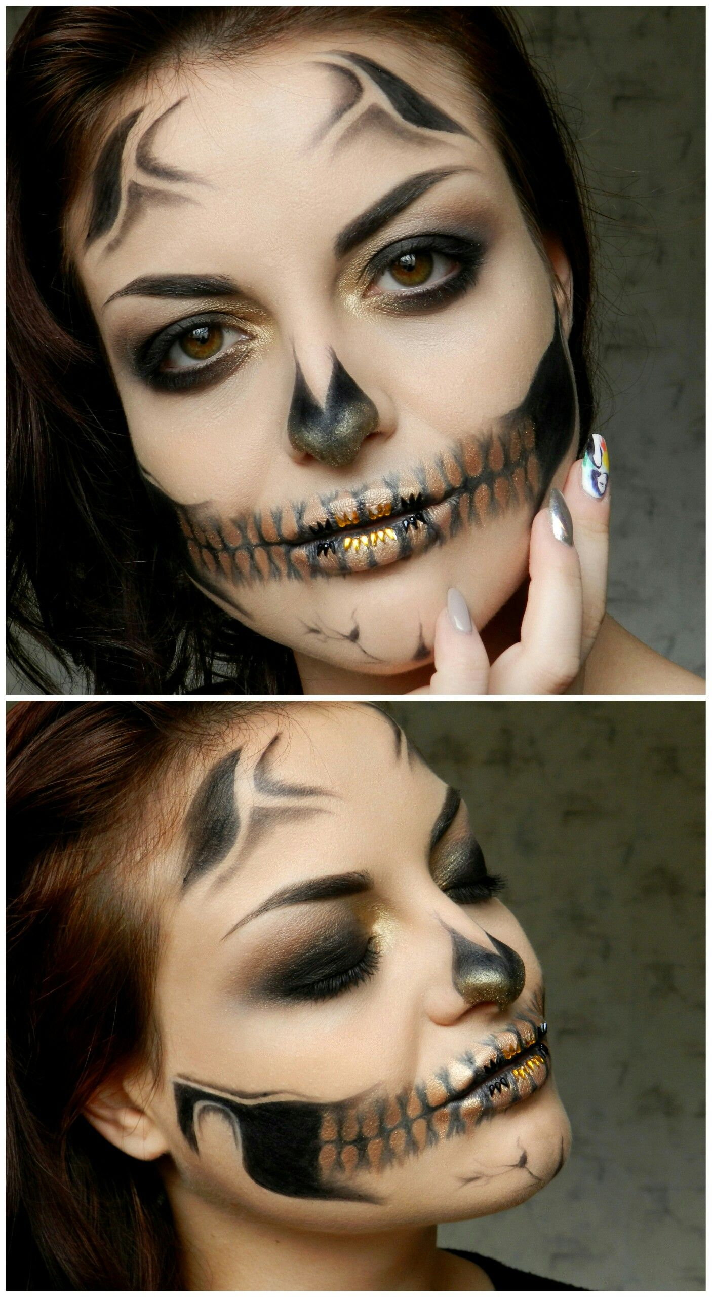 makeup Halloween ideas creative looks gold black