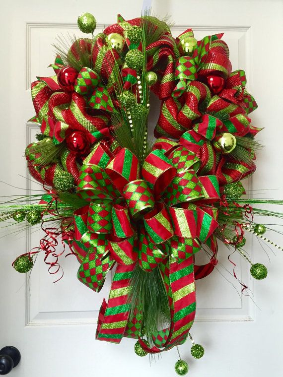 Christmas Mesh Wreath Pinterest Christmas mesh wreaths, Wreaths