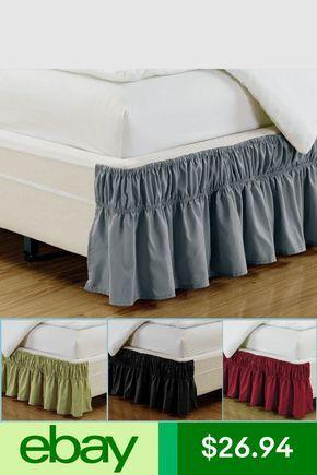 Luxury Dust Ruffle Bed Skirt 16 Inch Drop Microfiber Elastic Solid