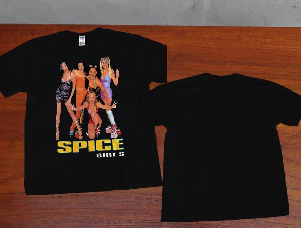 661211233f493 Spice Girls Top Black Rock Tour T-Shirt Retro Vtg Clothing 90s T shirt  GILDAN