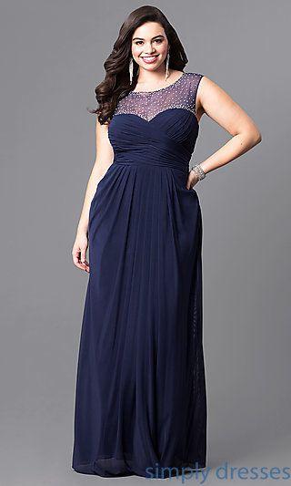 Navy Blue Plus Size Long Prom Dress En 2019 Dresses