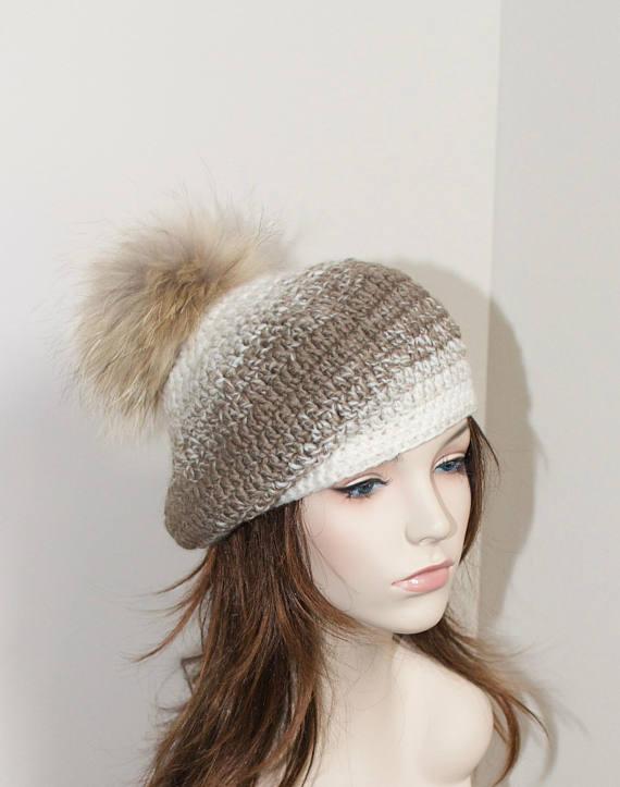 34f7a624cd5 Pompom Beanie Women Hat Slouchy Hat Fur Pompom Beret Crochet Raccoon Fur  Pompom Beanie Winter Women