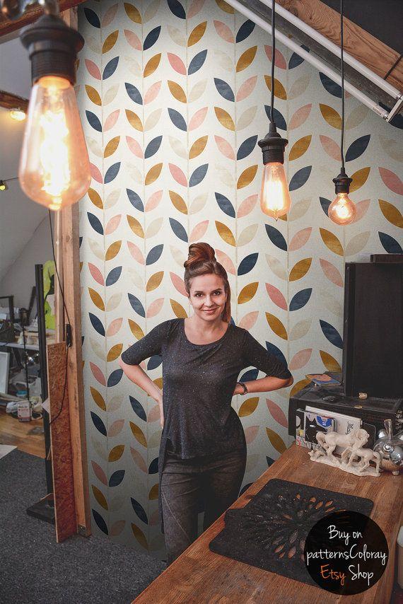 Scandinavian Style Pattern Vintage Wallpaper Self Adhesive