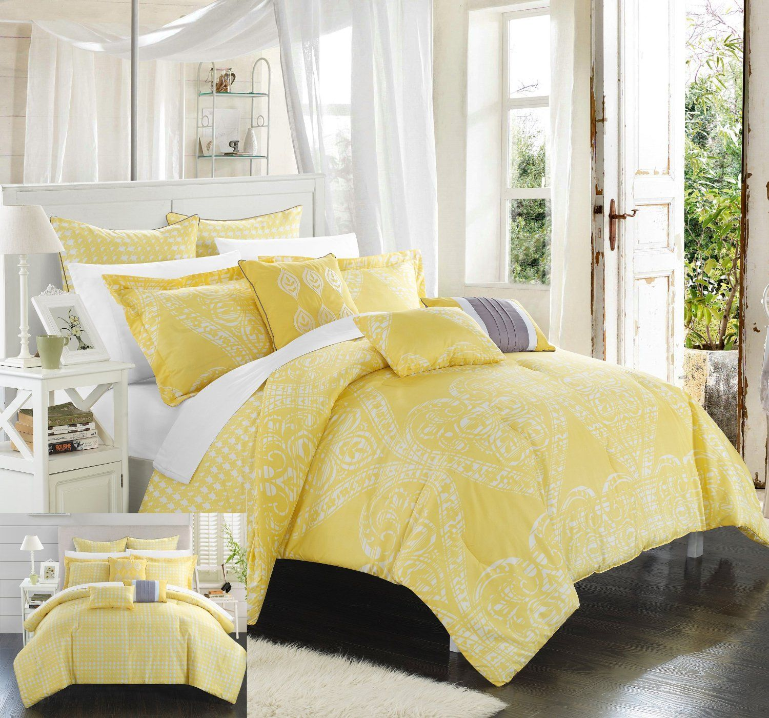 comforter yellow with duvet sets cover decoration queen additional mustard set solid shabby unique covers chic