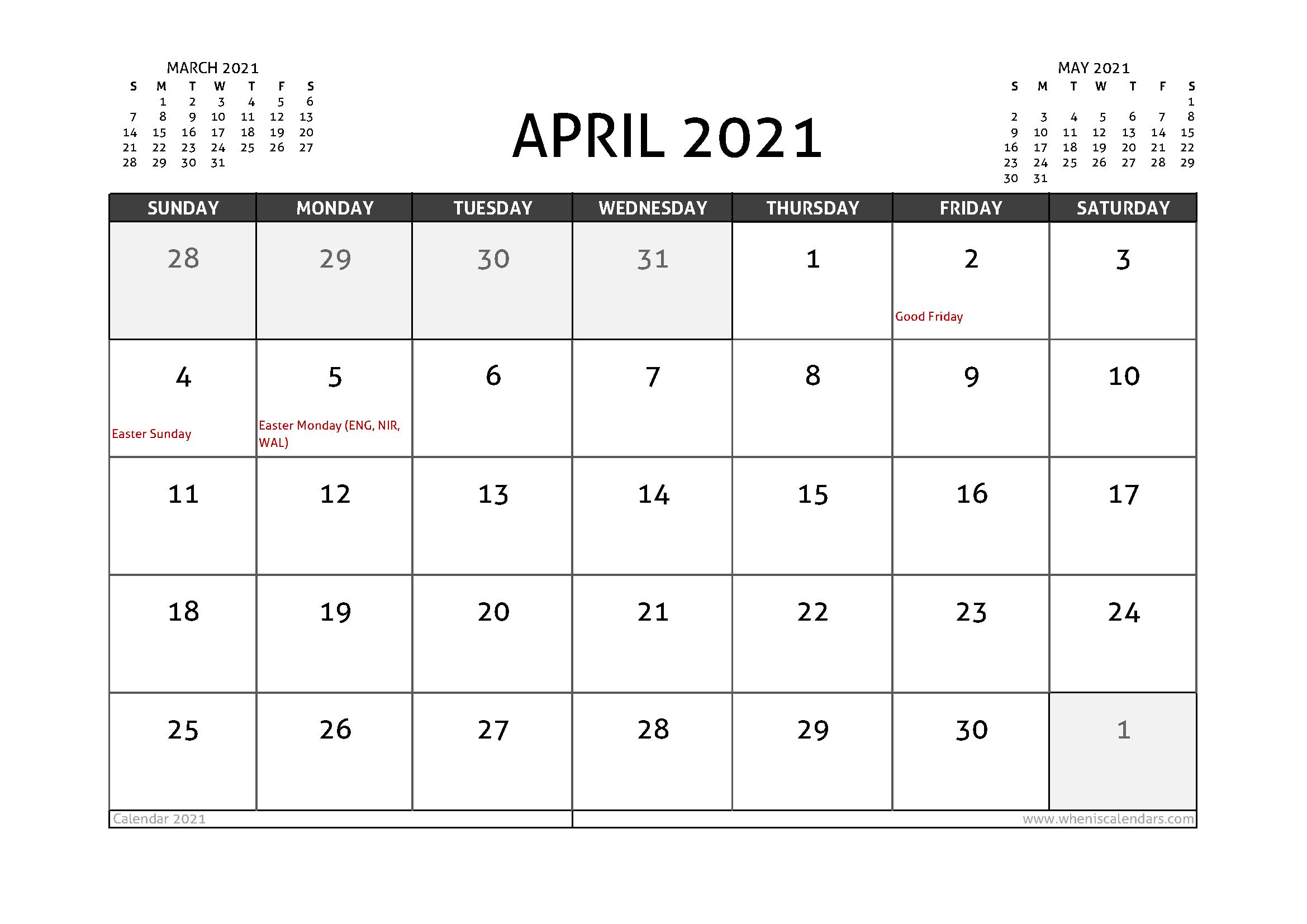 April 2021 Calendar Uk With Holidays Calendar Uk Printable Calendar Design Calendar Printables