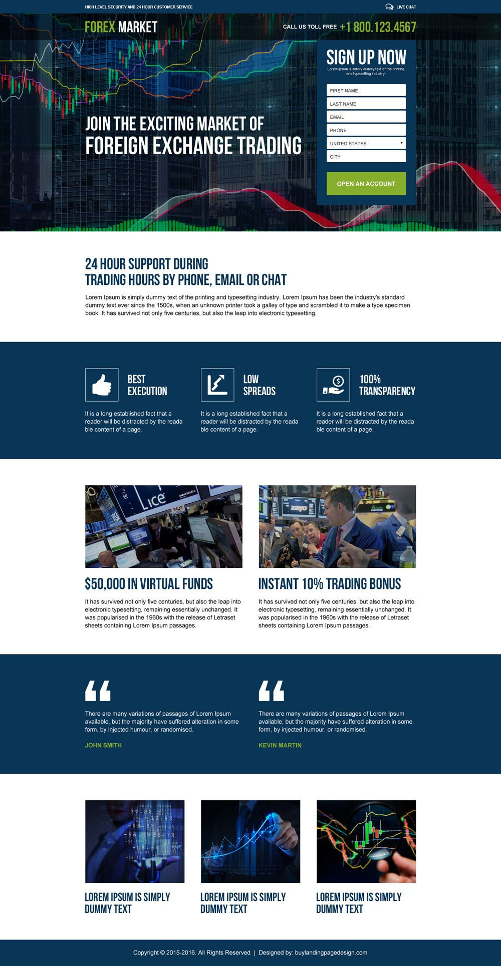 Foreign Exchange Trading Market Responsive Landing Page Design