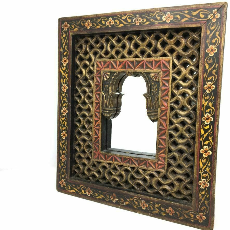 Distressed India Jali Mirror Wood Hand Carved Wall Hanging Mirror