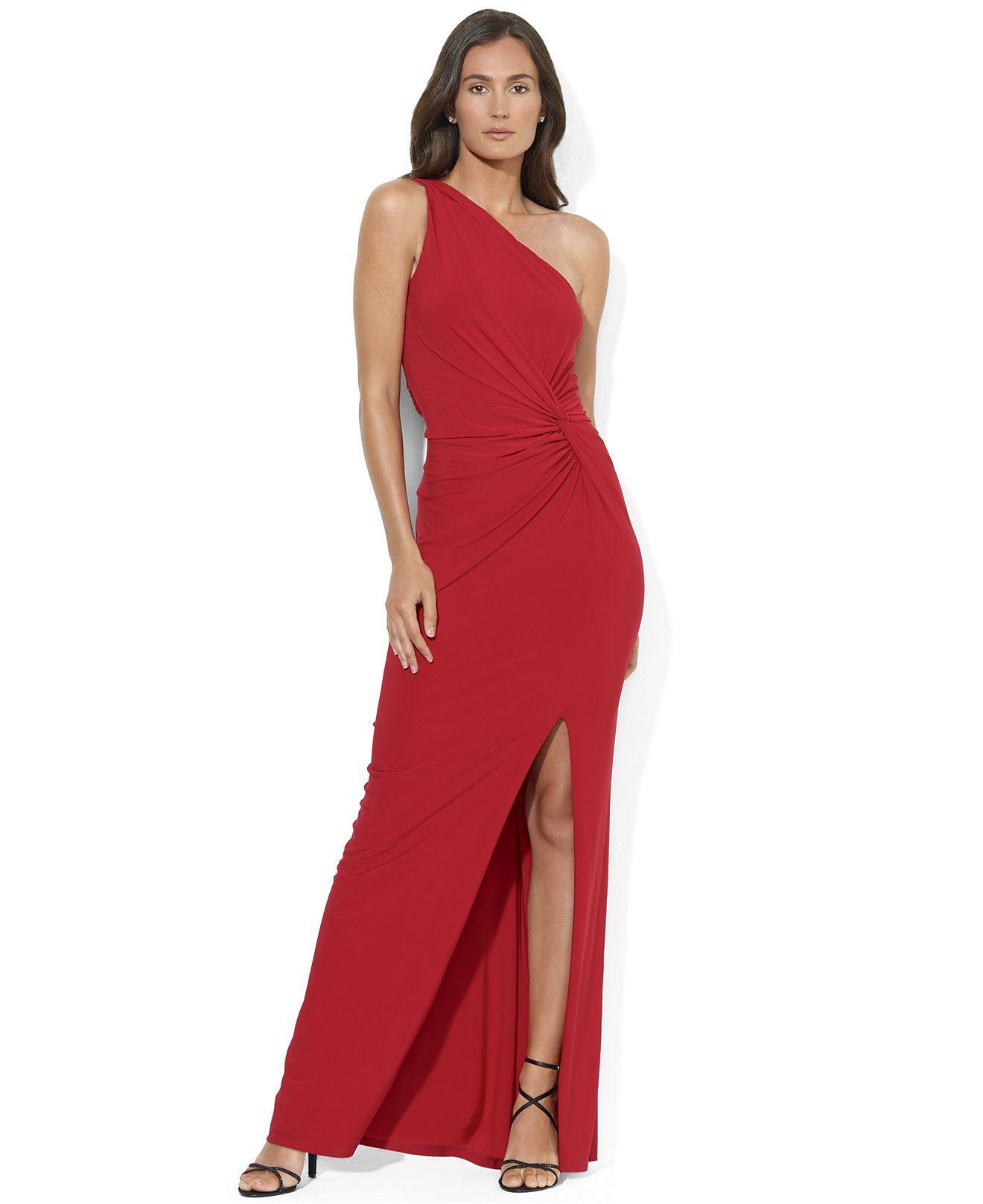 heart ball Lauren Ralph Lauren Dress, One-Shoulder Jersey Ruched ...