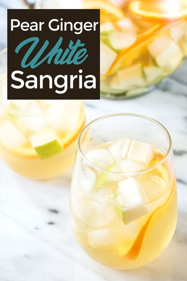 Pear Ginger White Sangria This refreshing and easy white sangria is full of pear, orange, and ginger for the ideal recipe for a crowd. Made with brandy, this summer drink is so refreshing! |