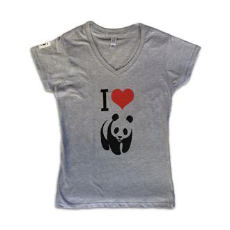 T-SH ΓΥΝΑΙΚΕΙΟ ΓΚΡΙ -Ι LOVE PANDA|wwf.gr