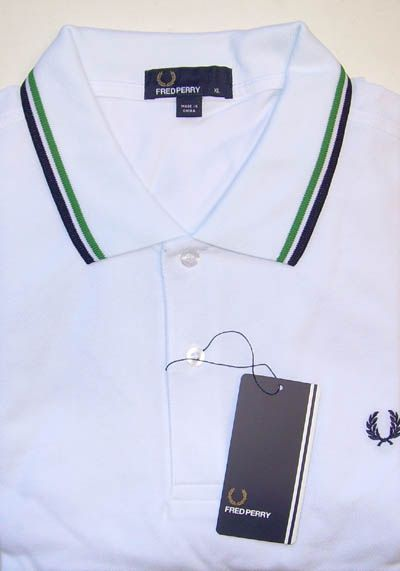 NEW - Fred Perry Classic Fit Twin Tipped Polo Shirt- WHITE/NAVY/GREEN