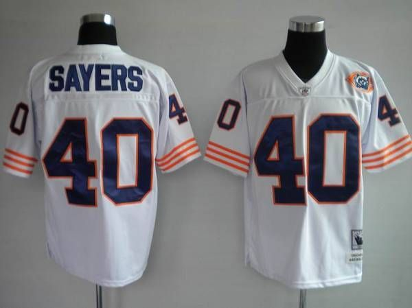 eb923ae5e MITCHELL   NESS BEARS  40 GALE SAYERS WHITE WITH BIG NUMBER BEAR PATCH  STITCHED THROWBACK NFL JERSEY
