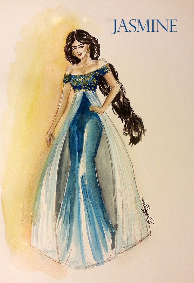 "Princess Jasmine, ""Aladdin."" Watercolor, Fashion ..."