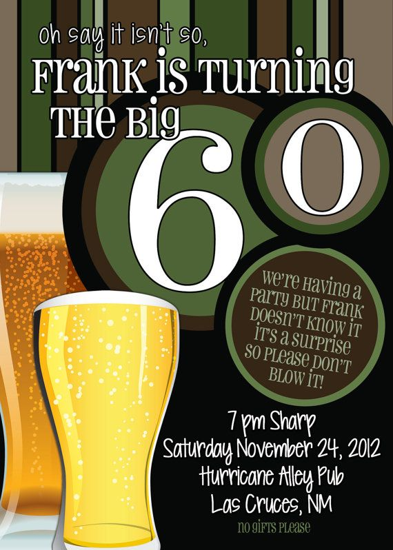 60th birthday surprise party invitationsbeer men by thefunkyolive surprise party - Birthday party theme for men ...