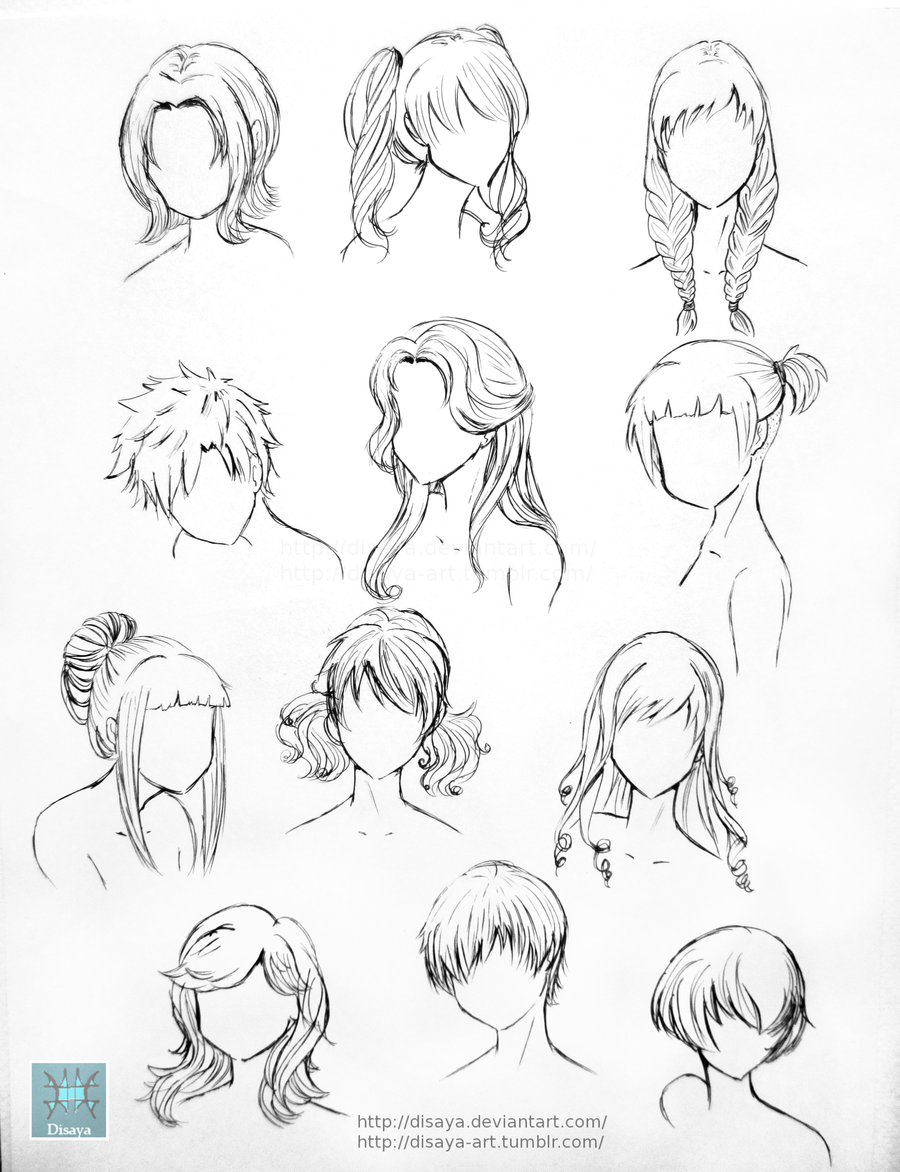 Hair Reference 1 By Disaya On Deviantart Drawings Anime Drawings How To Draw Hair