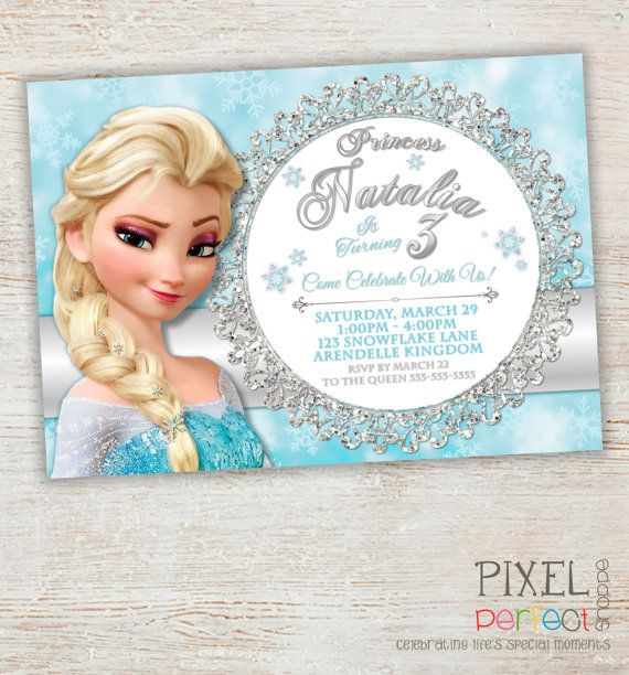 Frozen Birthday Invitation Frozen Birthday By Pixelperfectshoppe Frozen Birthday Invitations Disney Frozen Invitations Frozen Invitations