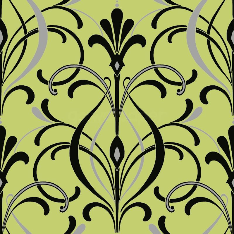Art Deco New! Lime Green & Black Art Deco Wallpaper