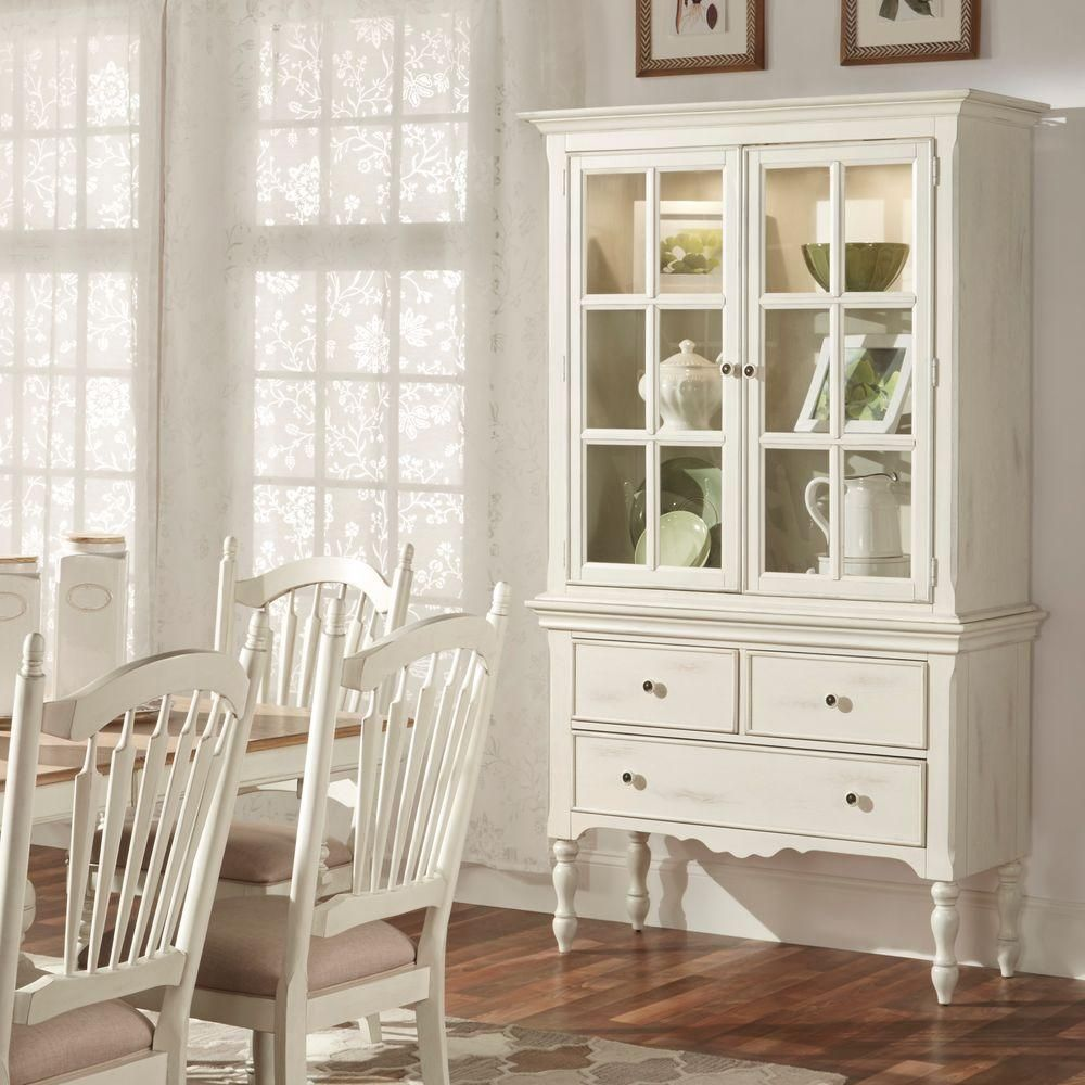 Margot Touch Light Wood China Cabinet In Antique White